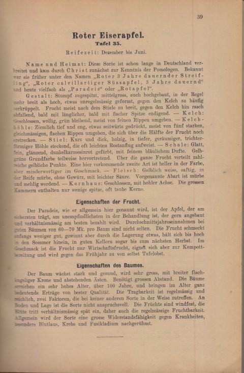 Bild: Beschreibung des Roter Eiserapfel im Buch Unsere besten Deutschen Obstsorten Band I: Äpfel von 1923.