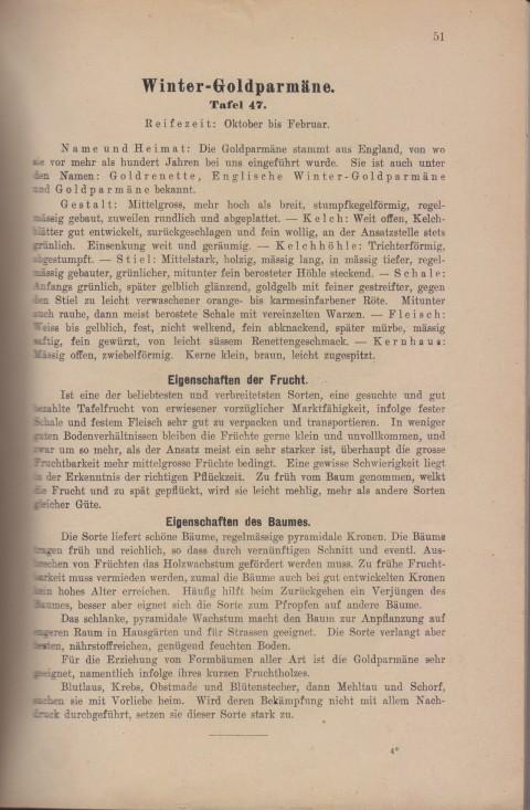 Bild: Beschreibung der Weisse Winter-Goldparmäne im Buch Unsere besten Deutschen Obstsorten Band I: Äpfel von 1923.